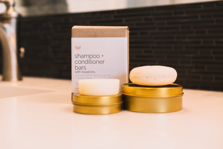 Photo of natural shampoo and conditioner bars.